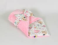Конверт - одеяло на выписку демисезонный BabySoon Лесные зверята на розовом плюше 80 х 85см (024)