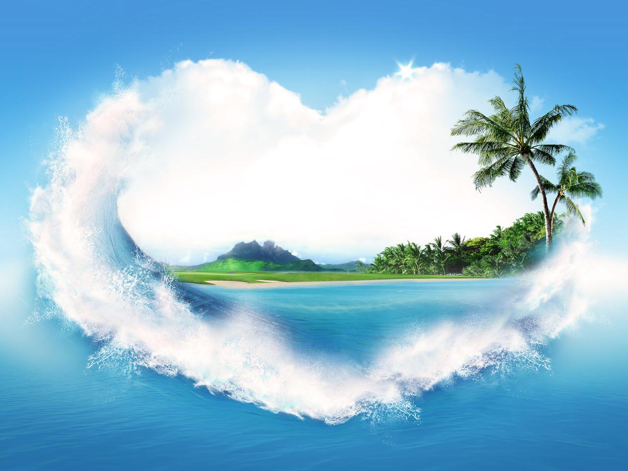 """Картина на склі """"Острів закоханих"""""""