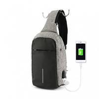 Городской рюкзак антивор Bobby Mini с защитой от карманников и USB-портом для зарядки серый