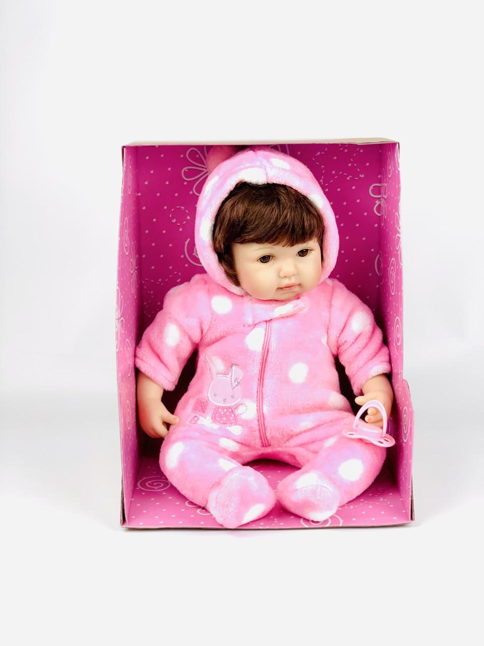 Лялька великий пупс для дівчаток, рожева, з волоссям