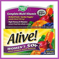 Полный мультивитаминный комплекс для женщин старше 50 лет Nature's Way Alive! Раз в день 50 таблеток