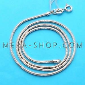 Серебряная цепочка Змейка Снейк (40 см, 6.4 г), цепь из серебра 925 пробы