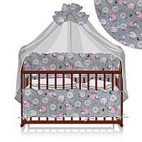 Постельный комплект 7 предметов (1) Овечки и звёзды КПЛ-23 32955 - цвет серый, розовый ТМ Беби-Текс