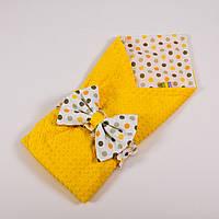 Летний конверт-плед на выписку с плюшем желтого цвета BabySoon 78х85см Солнышко №2