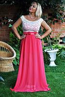 """Летнее нарядное платье в пол """"Ангелина"""" с гипюровым верхом (большие размеры)"""