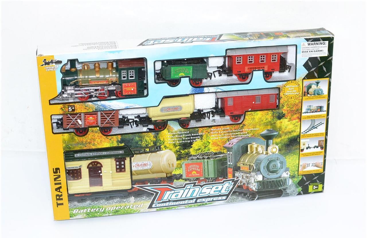"""Железная дорога """"TRAIN SET"""" Экспресс 18 элементов, свет, звук, длина путей 135 см, в коробке 1209"""