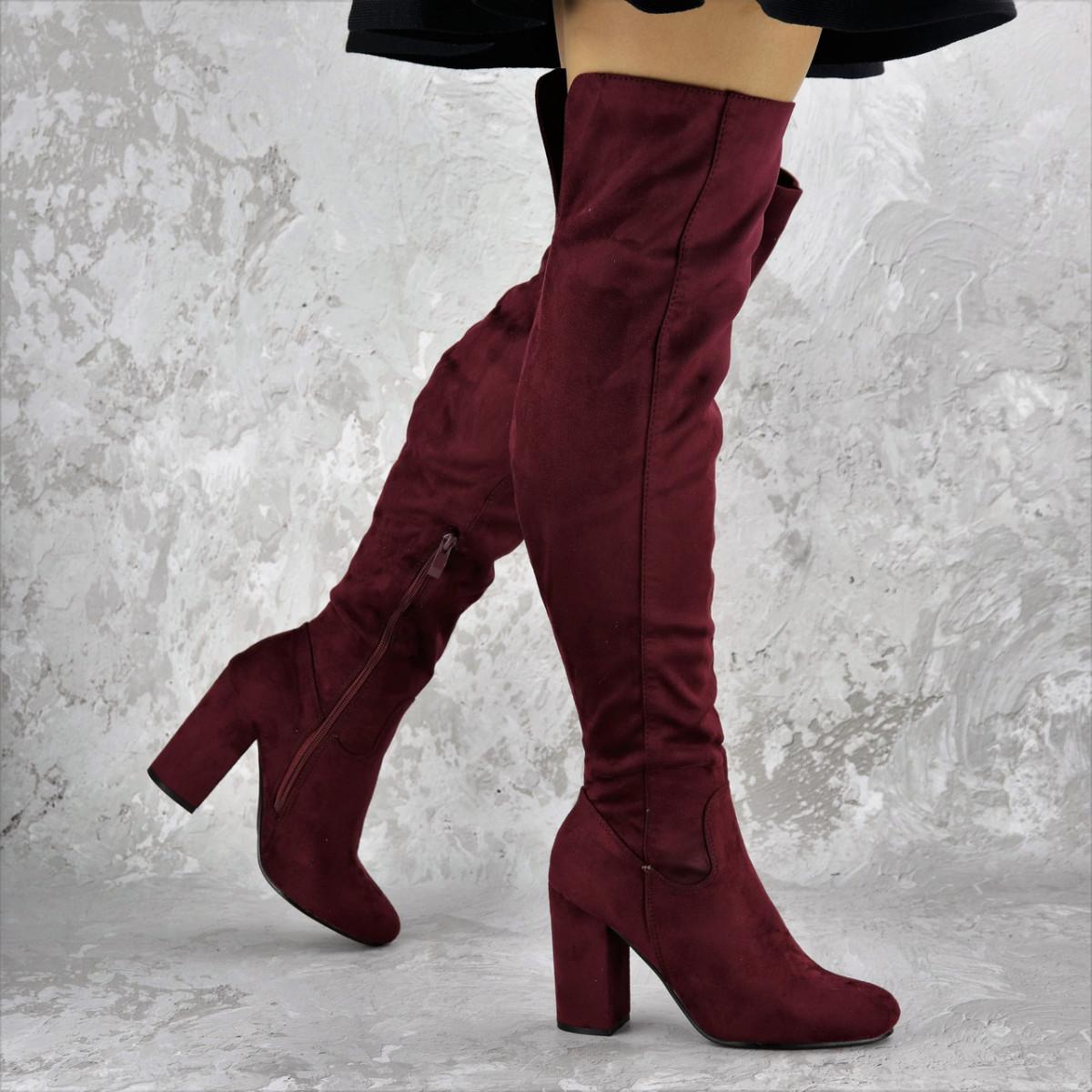 Женские ботфорты Caitlyn бордовые на каблуке 1442 (36 размер)