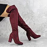 Женские ботфорты Caitlyn бордовые на каблуке 1442 (36 размер), фото 2