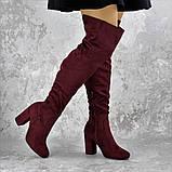 Женские ботфорты Caitlyn бордовые на каблуке 1442 (36 размер), фото 4