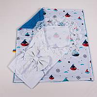 Конверт на выписку летний нежно белый с кружевом + плед кораблики с сине бирюзовым плюшем BabySoon 78х85см