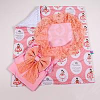 Конверт на выписку летний розовый с кружевом + плед принцессы в бальных платьях с BabySoon 78х85см