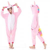 Детская пижама кигуруми Единорог (розовый) 130 см