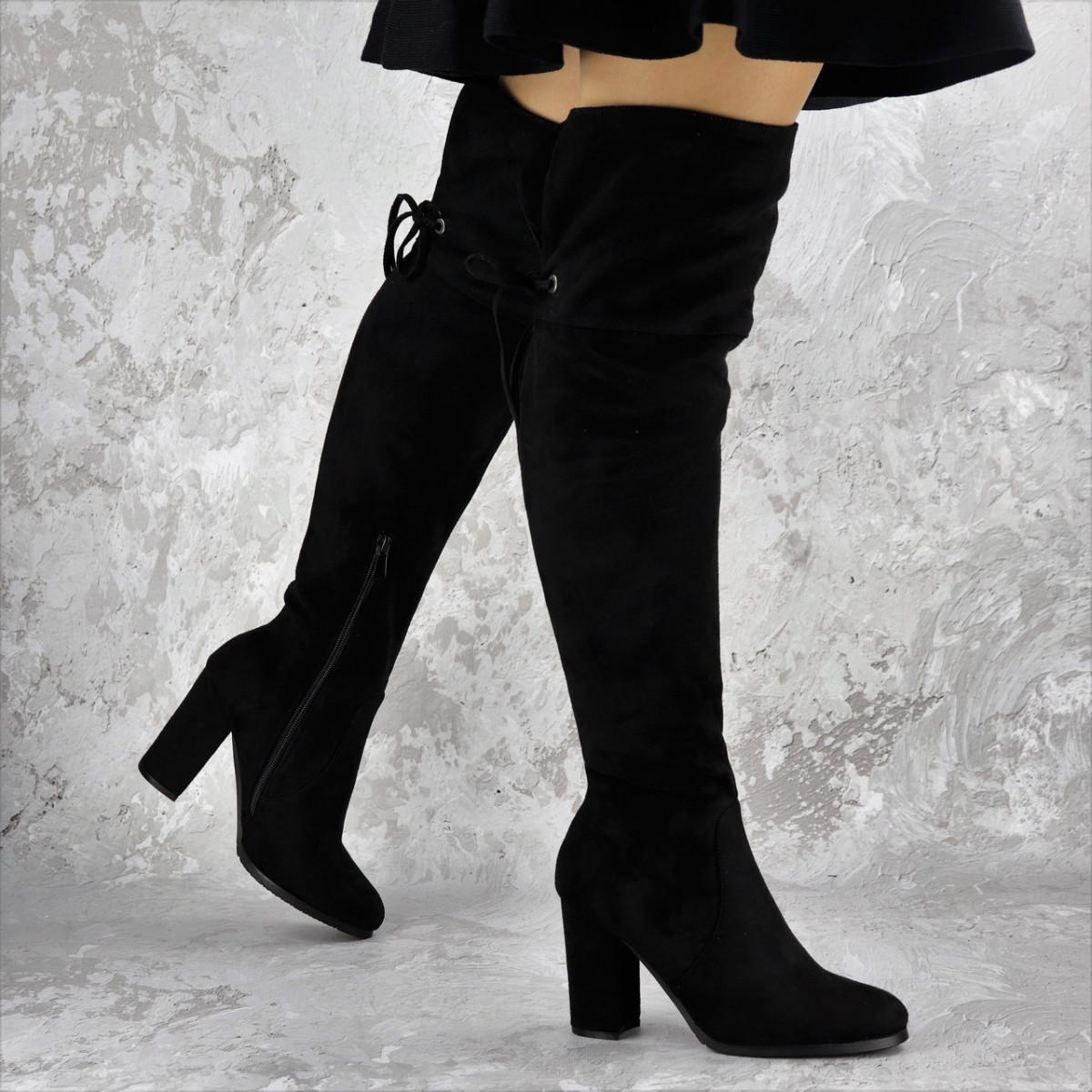 Женские ботфорты Noel черные на каблуке 1445 (37 размер)