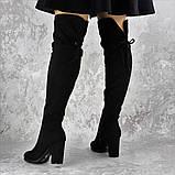 Женские ботфорты Noel черные на каблуке 1445 (37 размер), фото 4