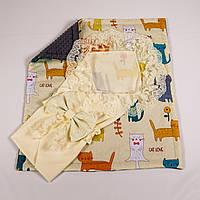 Конверт на выписку летний молочный с кружевом + плед лесные истории с серым плюшем BabySoon 78х85см