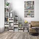 Стеллаж лесенка, полка для книг и игрушек, разделитель комнаты на 15 ячеек, книжный шкаф S-17, фото 3