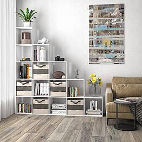 Стелажполиця для книг таіграшок, розділювач кімнати на 15 комірок, книжкова шафа S-17