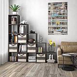 Стеллаж лесенка, полка для книг и игрушек, разделитель комнаты на 15 ячеек, книжный шкаф S-17, фото 4