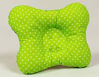 Ортопедическая подушка бабочка для новорожденных BabySoon Салатовая в мелкий горошек 22 х 26 см (147)