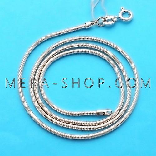Серебряная цепочка Змейка Снейк (60 см, 9.5 г), цепь из серебра 925 пробы