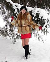 Женский полушубок из натурального меха рыжей лисицы (размер 46-48). Авторское ателье IVANISHCHEV, фото 1