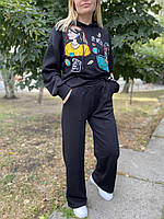 Прогулочный женский костюм с худи и брюки трубы 42 44 46 48