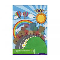 Акция. Картон кольоровий, А4, 10 кольорів - 10 аркушів, 230г/м2, KIDS Line * Киев. также Подарок