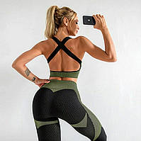 Женский костюм для фитнеса черный с зеленым размер L