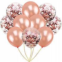 Набор воздушных шаров с конфетти Розовое золото . 10 шт. Китай