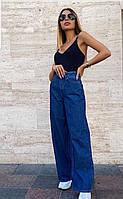 Джинсы клеш синего цвета джинсы коттон 803