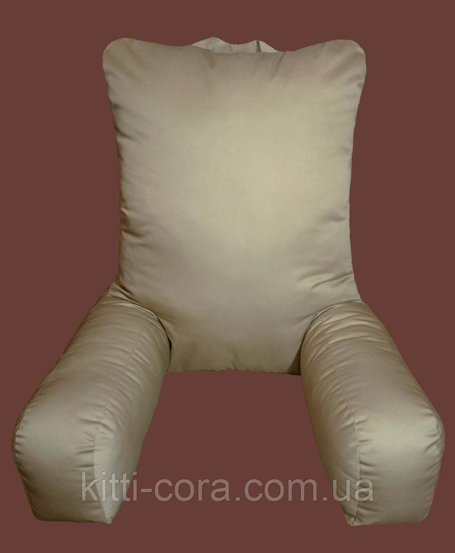Большая ортопедическая подушка - кресло для чтения. Модель Комфорт. Цветная. Белая. Без наволочки