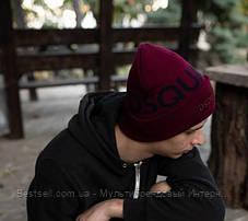 Шапка Dsquared2 / шапка дискваред / шапка жіноча/шапка чоловіча/бордовий, фото 3