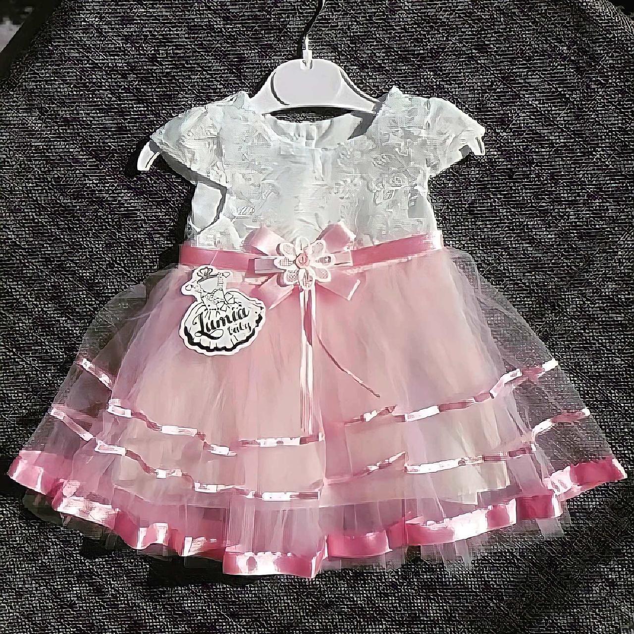 Очень нарядное пышное платье на новорожденную девочку р. 3, 6, 9, 12 на крещение