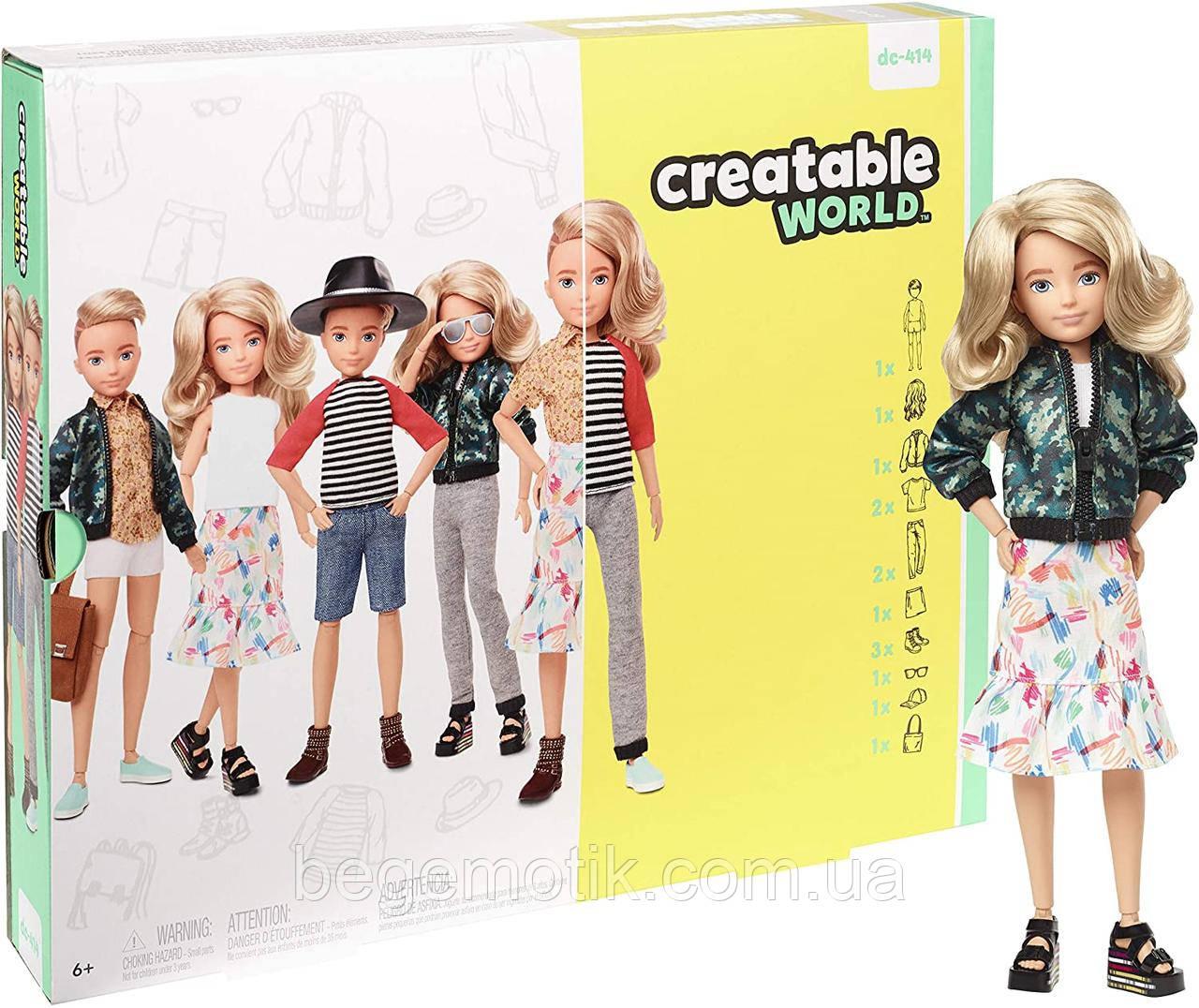 Игровой набор Кукла с аксессуарами Созидаемый мир, светлые вьющиеся волосы Creatable World Deluxe Character