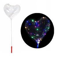 5x Шарик воздушный надувной сердце светящийся с LED-подсветкой, 45см