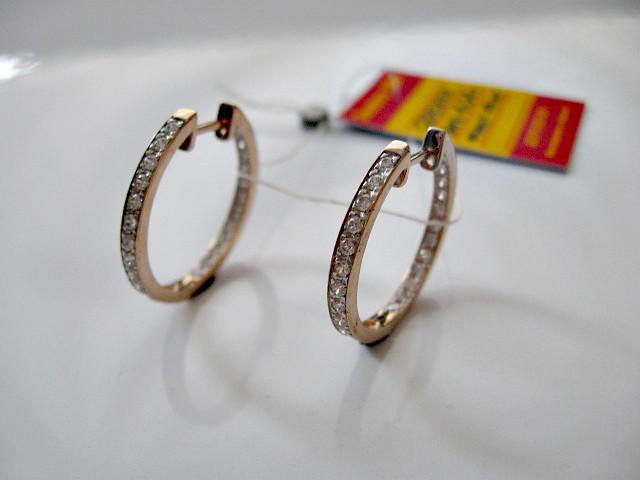 Серьги кольца-конго из красного золота 585 пробы 4.04 грамма с белыми фианитами