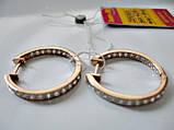 Серьги кольца-конго из красного золота 585 пробы 4.04 грамма с белыми фианитами, фото 8