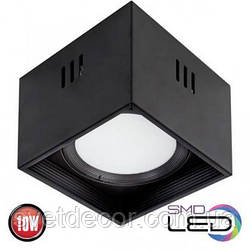 Светодиодный светильник накладной точечный квадрат Horoz Electric Sandra-SQ10 LED 10W 4200К черный
