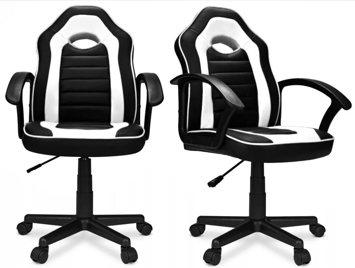 Крісло комп'ютерне спортивне Home-Fest ELIS Чорно-біле Навантаження 100 кг