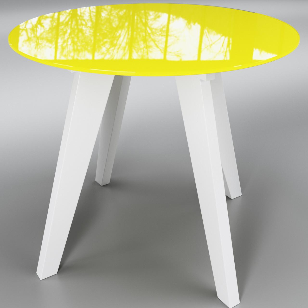 Стол Леонардо круг желто - белый ТМ Sentenzo