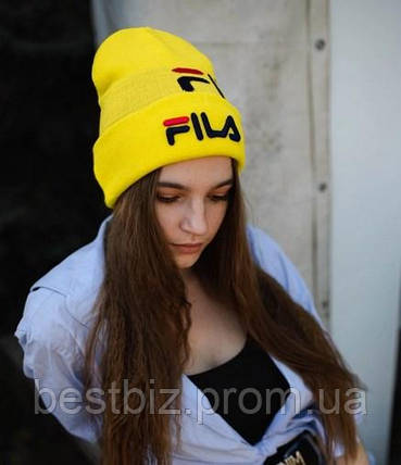 Шапка Fila / шапка філа/ шапка жіноча/шапка чоловіча/жовтий, фото 2