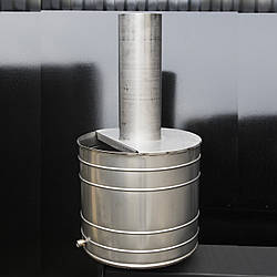 Бак для нагрева воды на трубу D 120 мм с нержавейки 27 л, на дымоход для печи.