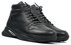 Кожаные зимние ботинки кроссовки на меху черные мужская обувь Rosso Avangard ReBaKa Pen