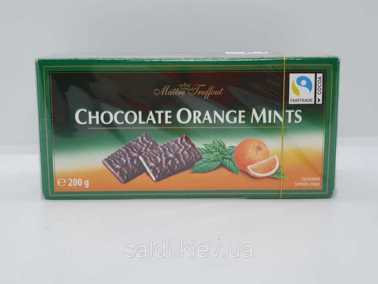 Maitre Truffout Chocolate Orange Mints - Шоколадные пластинки с мятно-апельсиновой начинкой 200 грамм