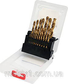 Набор сверл по металлу 19 шт 1-10 мм YATO HSS-TIN YT-44675
