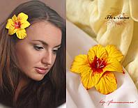 """""""Жёлтый гладиолус"""" заколка ручной работы с цветком"""