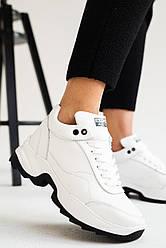 Женские кроссовки кожаные зимние белые Onward 2123