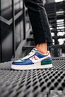Женские кроссовки в стиле Nike Air Force 1 Shadow Blue Pink / женские кроссовки найк аир форс 40 размер