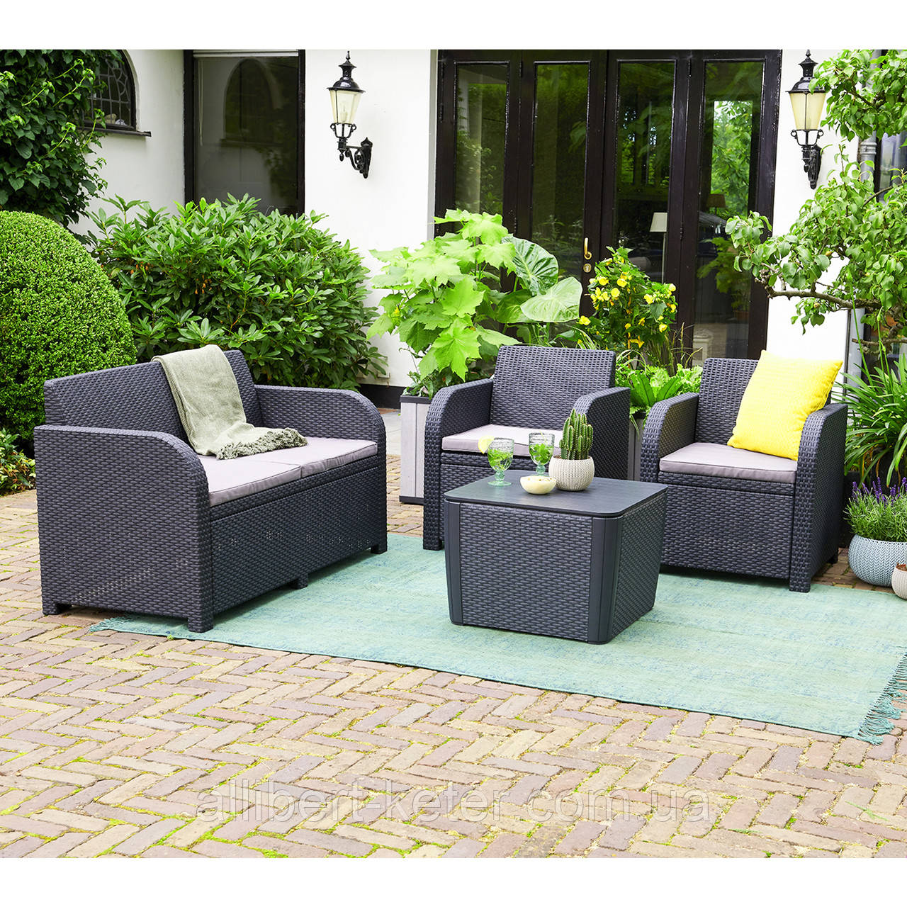 Комплект садовой мебели Allibert by Keter Novara Lounge Set искусственный ротанг ( Novara Set )