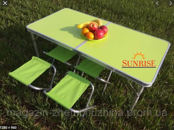 Sale! Стол алюминиевый чемодан для пикника со стульями Зеленый
